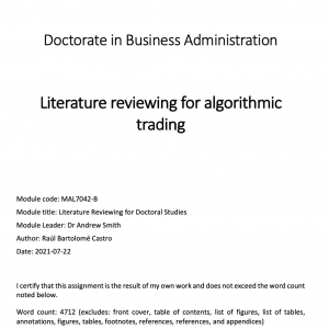 Literature reviewing for algorithmic trading